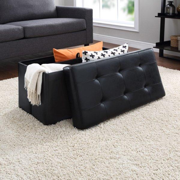 黑色皮革可折叠储物脚凳