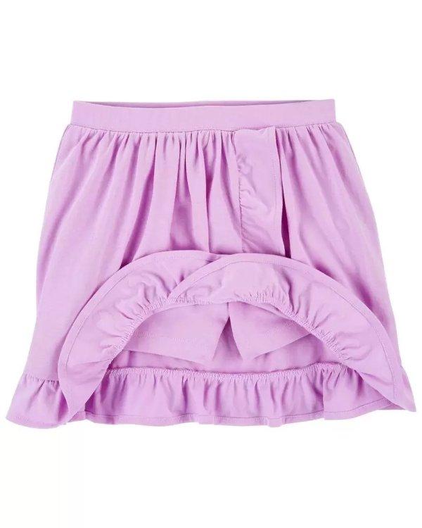 女孩荷叶边半身裙裤
