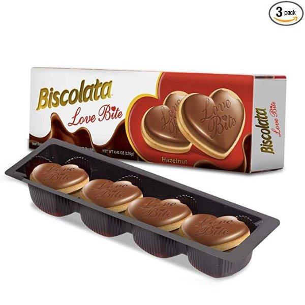 心形榛仁巧克力口味饼干 3盒装
