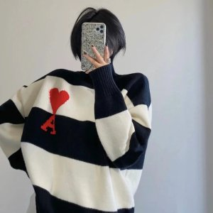 AMI ALEXANDRE MATTIUSSI2色可选!剩L码!黑白条纹毛衣