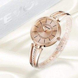 $21.24 (原价$24.99)ETEVON 玫瑰金色钻饰手镯款女士腕表