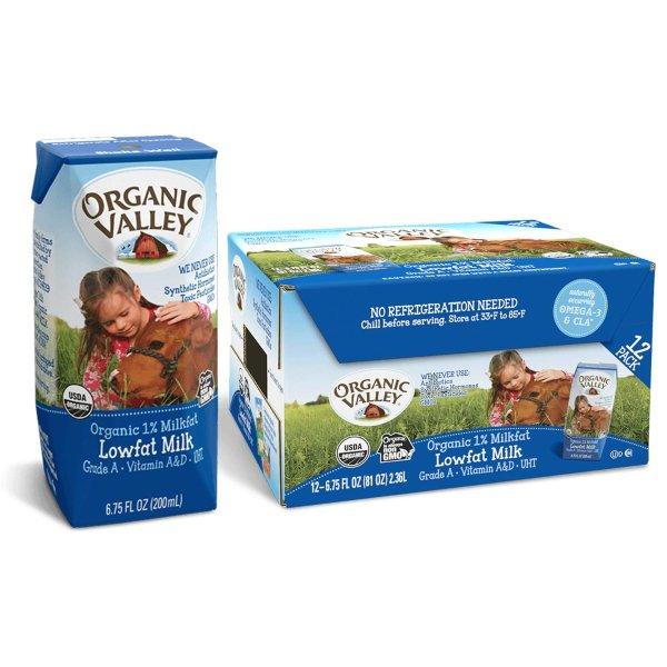 有机1%低脂牛奶 6.75 oz 12盒装