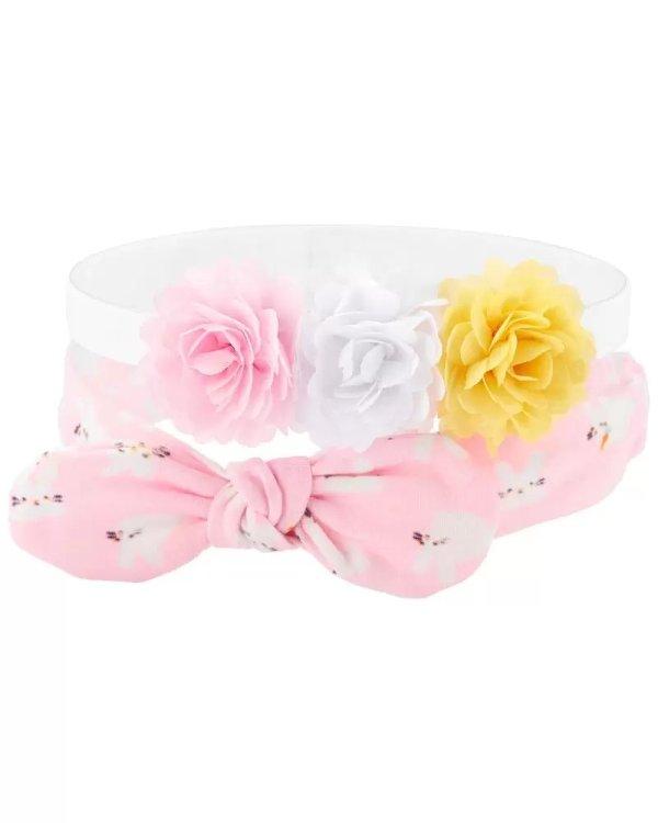 婴儿花朵发带2条装