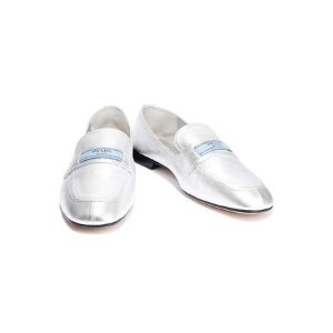 PradaMetallic leather loafers