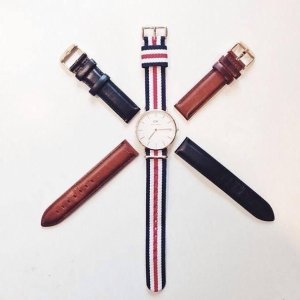 ¥518包邮超低价!DW 丹尼尔·惠灵顿 女士条纹手表