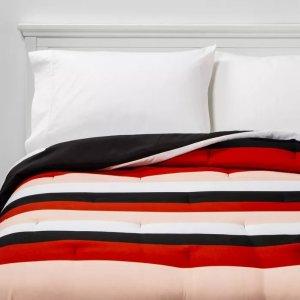 Room EssentialsT/TXL Rugby Stripe to Black Reversible Geo Dot Microfiber Comforter