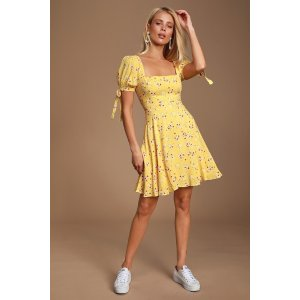 Camellia Curtsies Yellow Floral Print Skater Dress