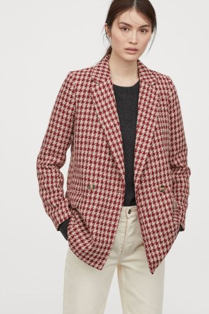 Bouclé Jacket - Red/doundstooth-patterned - Ladies | H&M US