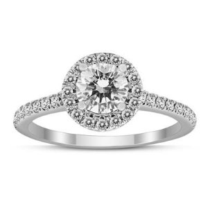 Signature Quality (H-I Color, SI1-SI2 Clarity) 1 Carat TW Diamond Halo Ring in 14K White Gold