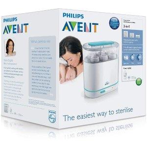 $89.9(原价$139.9)Philips 3合1电动蒸汽消毒器 安全杀菌