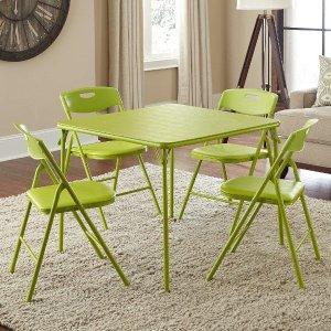 $109.99 (原价$124.97)Cosco 苹果绿 可折叠桌椅5件套 请客吃饭打麻将实惠之选