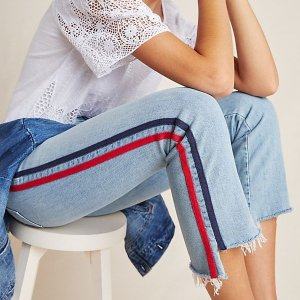 $86.8 (Org. $248)MOTHER The Insider Track Stripe Cropped Flared Jeans in Thanks, Again Racer