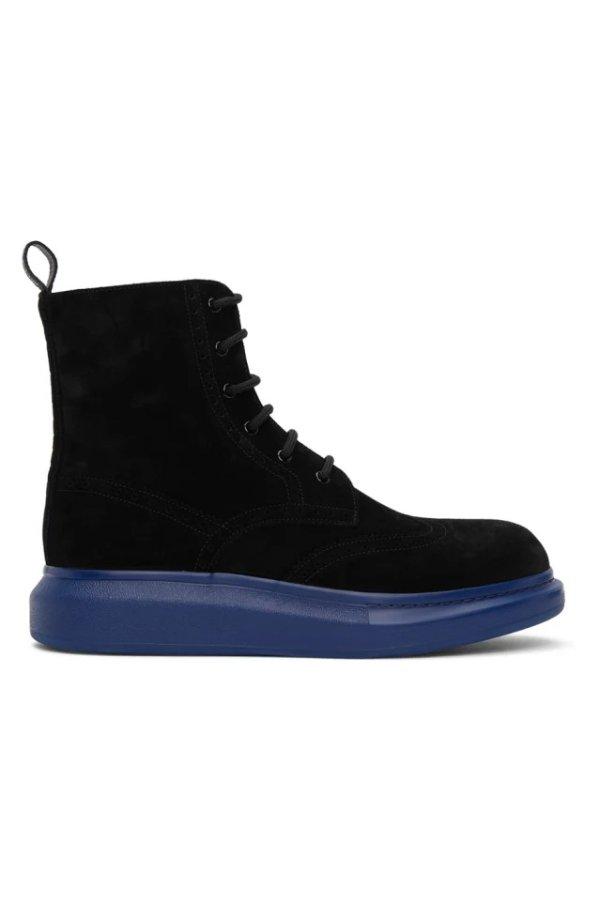 SSENSE Exclusive 蓝黑高帮厚底鞋
