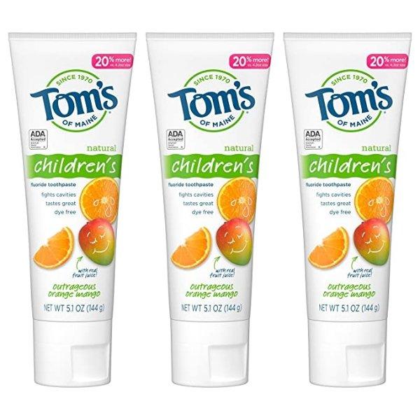 橘子芒果味儿童牙膏 5.1 oz. 3支