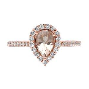 Helzberg DiamondMorganite & 1/3 ct. tw. Diamond Halo Ring in 10K Rose Gold
