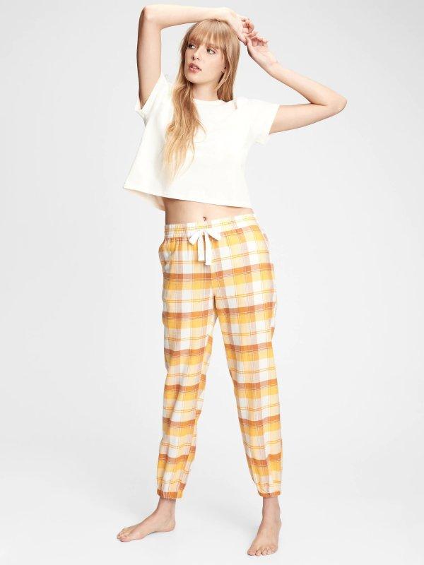格纹休闲裤