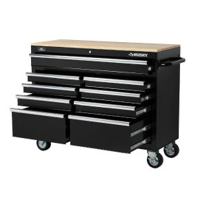In  Drawer Mobile Workbench With Solid Wood Top Black
