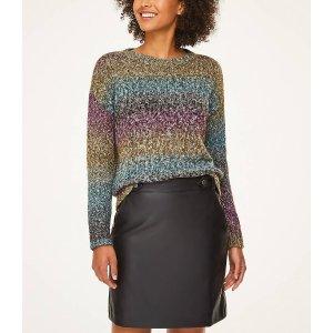 LOFT Outlet买一送一+满$100减$20彩色条纹毛衣