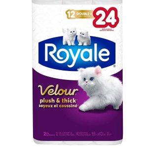 $6.97(原价$9.49)史低价:Royale Velour 加厚卫生纸 12大卷 相当于24卷 居家必备