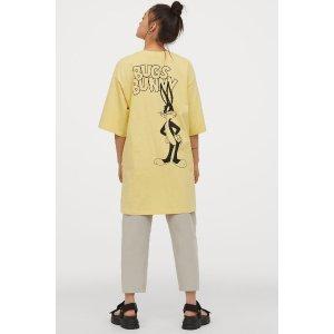 H&M浅黄色T恤