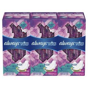 $16.86(原价$24.99)Always Radiant 夜用液体卫生巾 3盒
