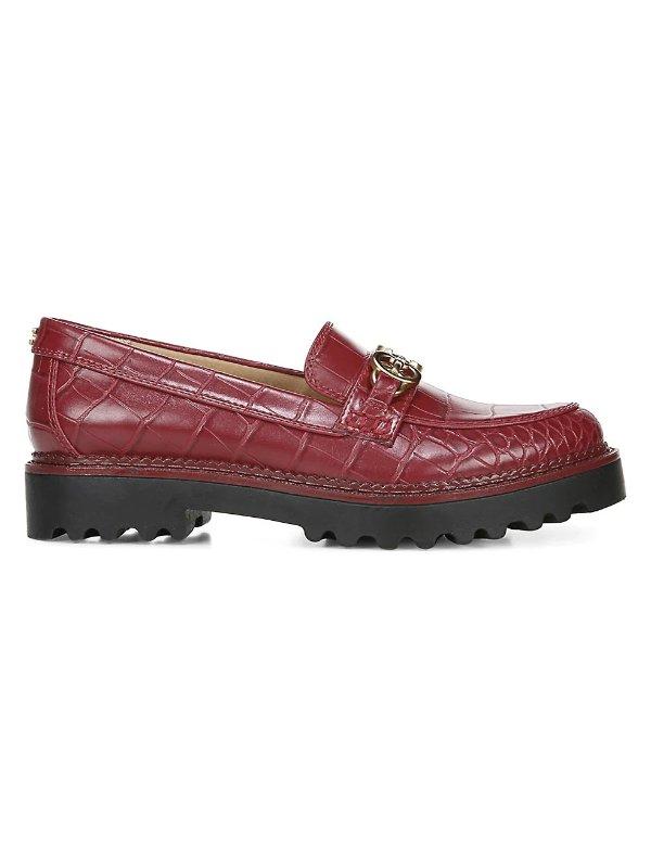 Deana鳄鱼纹厚底乐福鞋