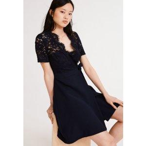 Claudie Pierlot上身超优雅~聚会必备小礼服黑色蕾丝连衣裙