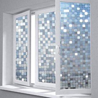 bofeifs 3D Static Window Film Decorative Privacy Vinyl Mosaic Window Film Self-Adhesive Window Film Static Cling Glass Film Stained Glass Window Film for Bathroom Bedroom Office Kitchen 17.7x78.7 Inch