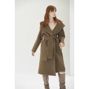 Quaint Official橄榄色羊毛羊绒大衣