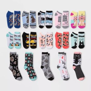 Women's Cat Lovers 15 Days of Socks Advent Calendar - Assorted Colors One Size