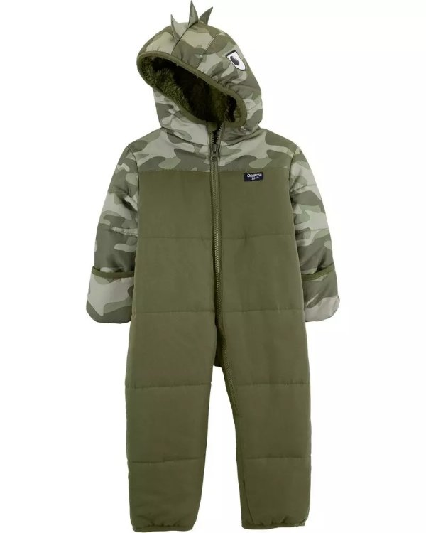 男婴恐龙造型保暖连体服