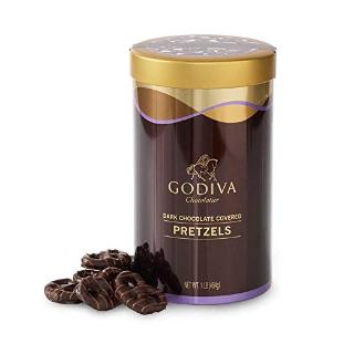 $19.71 (原价$24.95) 精致好礼Godiva 黑巧克力覆盖的椒盐卷饼 一罐 近66个