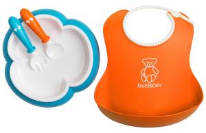 $19.99BabyBjorn 婴儿防漏食物围嘴 + 宝宝餐盘叉勺组套装