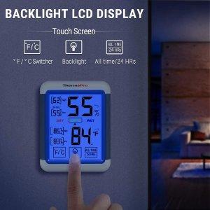 $19.99收LED触屏款销量冠军 ThermoPro TP55 监控室内温/湿度计 呵护全家健康
