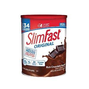 $12.81 一餐仅需$0.38Slimfast 巧克力味代餐奶粉, 31.18oz