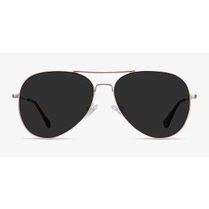 EyeBuyDirectGood Vibrations - Aviator Gold Frame Prescription Sunglasses | EyeBuyDirect