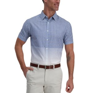 HaggarBlue Ombre Medallions Cotton Shirt