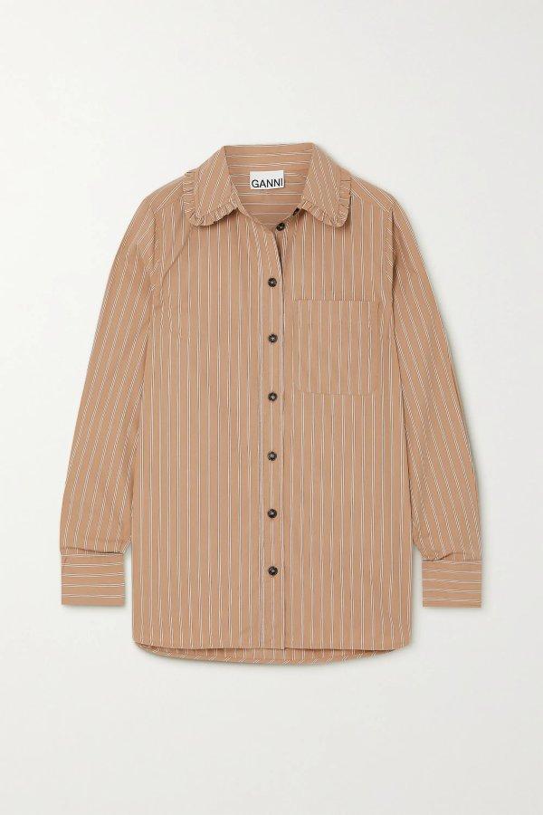 Ruffled striped 娃娃领衬衫