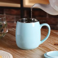 Peace Home 17.5oz带不锈钢茶滤陶瓷茶杯 多色可选