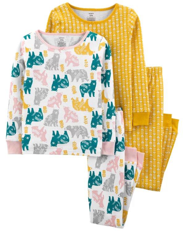 儿童小熊全棉紧身睡衣4件套