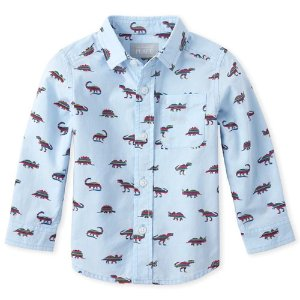 The Children's PlaceBaby And Toddler Boys Tiny Dino Poplin Button Down Shirt