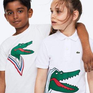 低至5折 T恤$21.99起Lacoste 童装热卖 收萌趣艺术家合作款  新潮创意更精彩