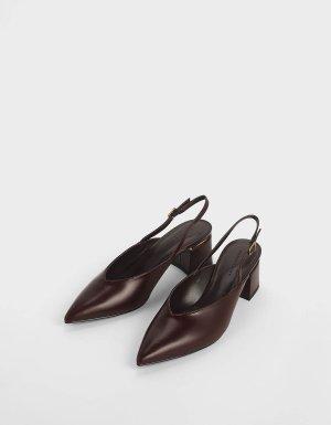 Brown V-Cut Block Heel Slingback Pumps | CHARLES & KEITH US
