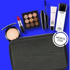 变相4折+送礼 仅£50(价值£124)MAC彩妆套装上新,5件正装!DG高光、定妆喷雾、眼影、口红