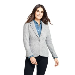 Lands' EndWomen's Textured Sweater Fleece Blazer