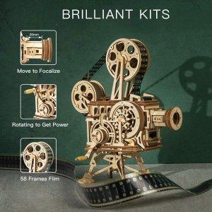 优惠价€49.99ROBOTIME 3D 木质拼搭手摇放映机 重温经典默片时代
