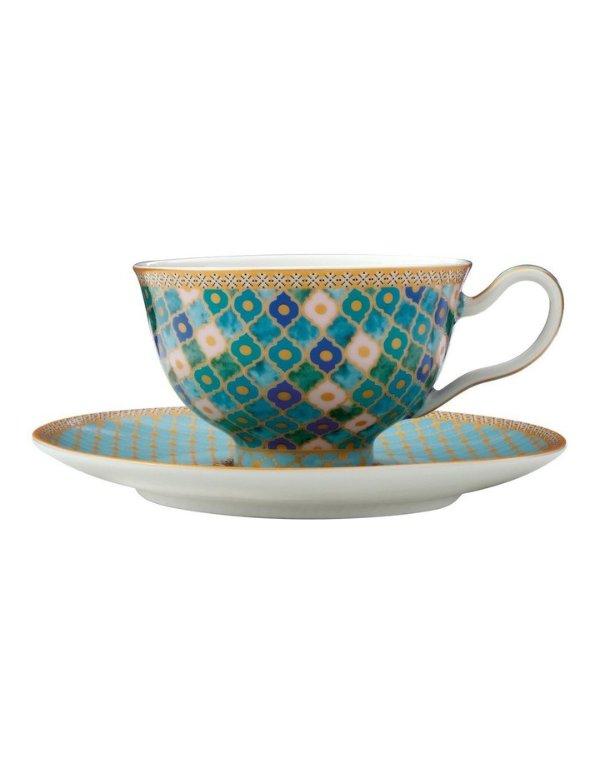 复古印花茶杯200ml+杯托