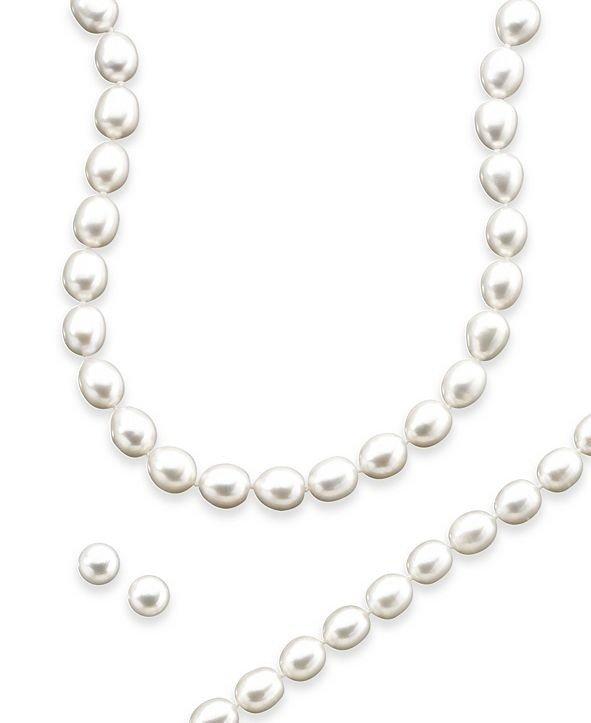 珍珠项链+耳钉+手链4件套装