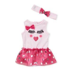 Juicy Couture(Newborn Girls) Pink Floral Waist Tutu Bodysuit