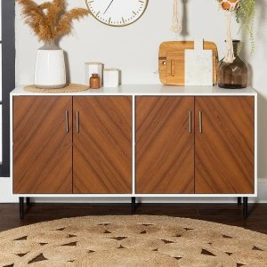 Carson CarringtonCassandra Modern Two-tone Bookmatch Buffet - White / Acorn Bookmatch